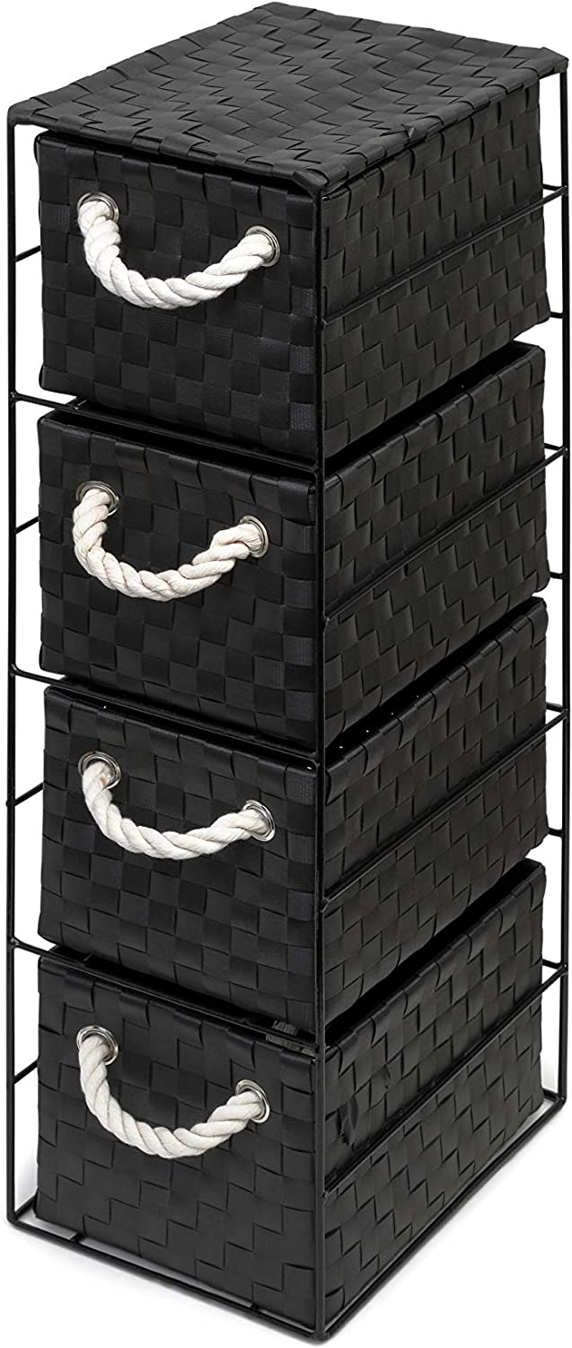 2-Drawer - 18x25x33cm Arpan Black 2-Drawer Storage Unit Ideal For Home//Office//bedrooms