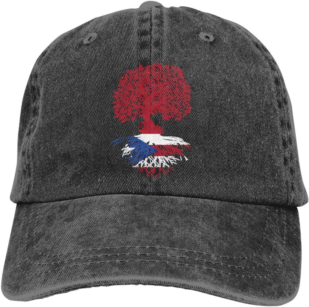 LOUIS ROBSON Unisex Puerto Rico Roots Washed Cotton Denim Baseball Cap Vintage Adjustable Dad Hat for Men Women