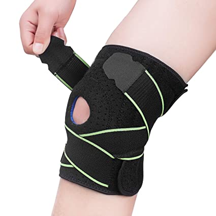 c9e056c9c4 Knee Brace Compression Sleeve Support - Adjustable Strapping Sleeves Women  Men Braces with Dual Side Stabilizers
