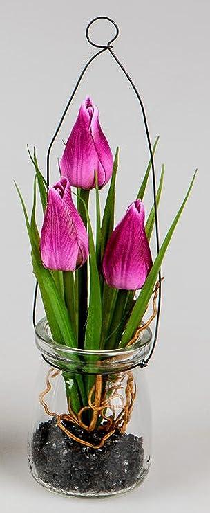 Dekojohnson Kunstblume Dekoblume Tischdeko Hangedeko Tulpen Im Glas