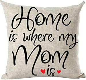 ramirar Black Word Art Quote Home Is Where My Mom Is Love Gift For Mother Family Inspirational Decorative Throw Pillow Cover Case Cushion Home Living Room Bed Sofa Car Cotton Linen Square 18 x 18 Inch