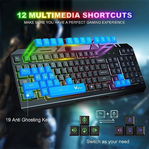WisFox - Teclado para videojuegos con retroiluminación LED multicolor con 104 teclas, teclado con cable USB y resistente a salpicaduras para Windows ...
