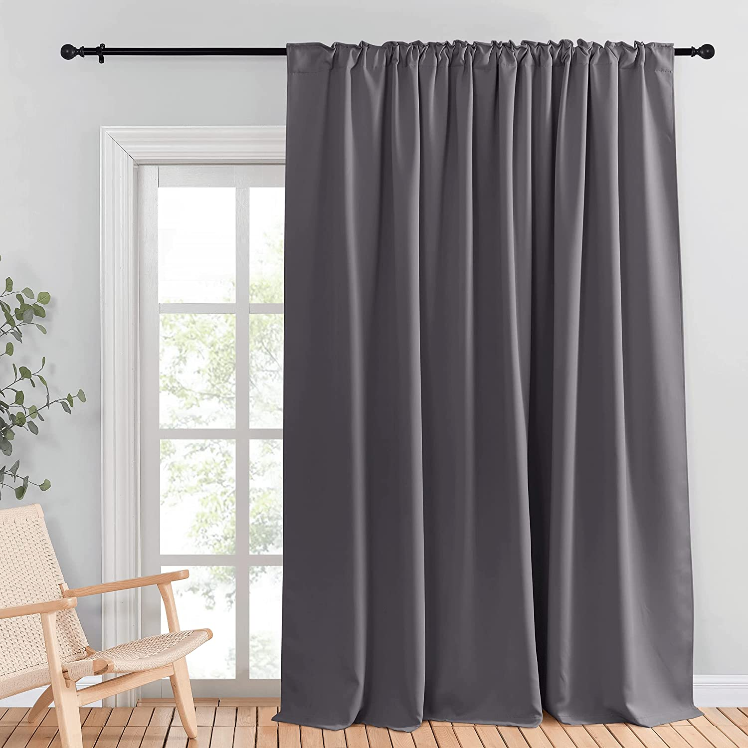 Amazon Com Nicetown Patio Sliding Glass Door Curtain Wide Blackout Curtains Keep Warm Draperies Grey Sliding Door Drapes For Closet Bedroom Office Sunroom Backdrop Gray 100 Inches W X 95 Inches L 1