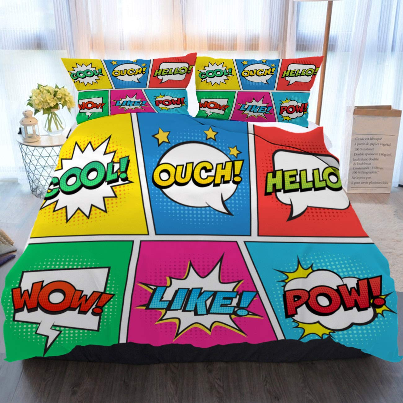 BEIVIVI Bedding 3 Piece Duvet Cover Set Retro Comic Speech Bubbles Set on Colorful Background Expression Text OUCH, Cool, Like, Hello, Wow, POW Soft Breathable Home Luxury Duvet Comforter Cover
