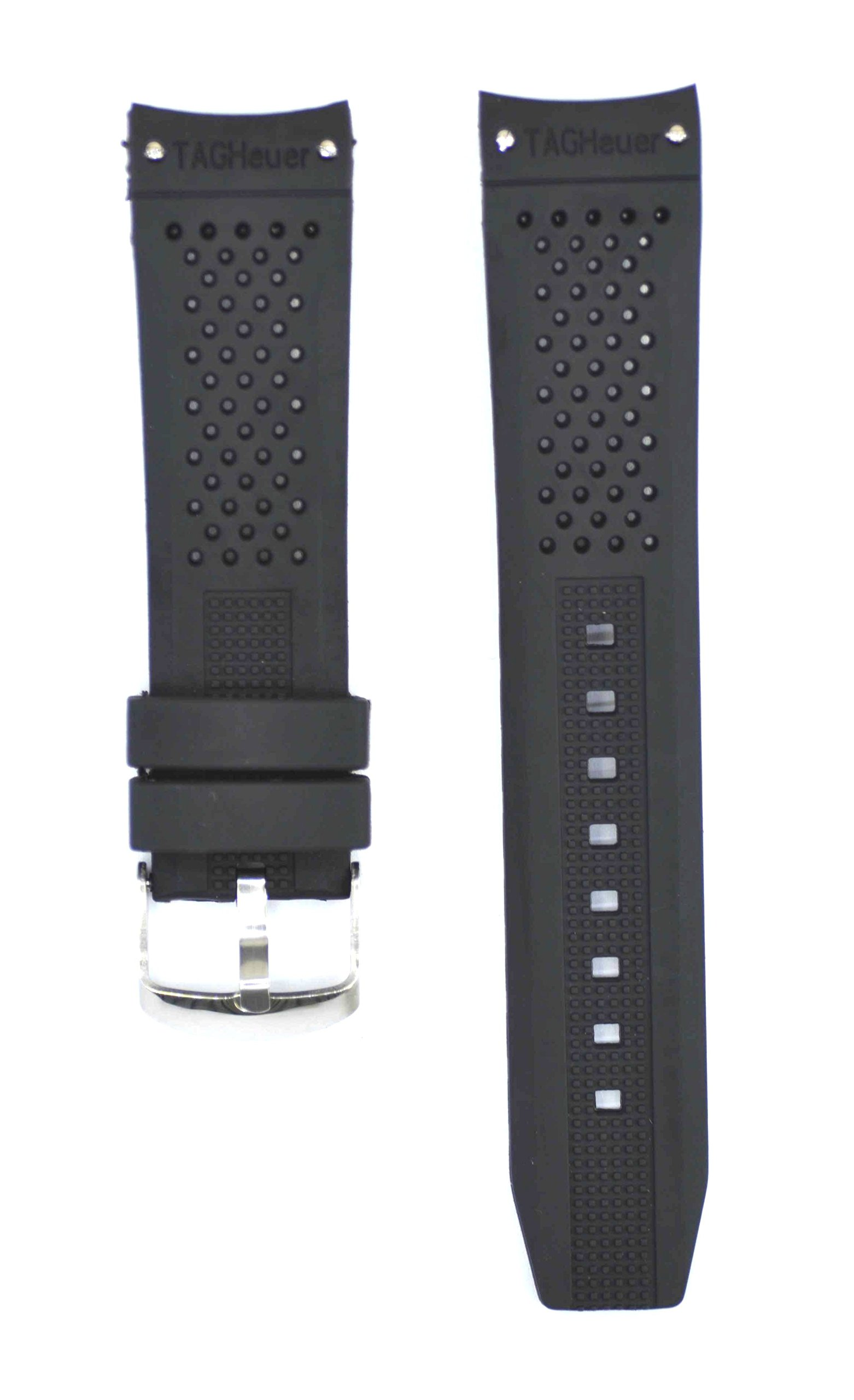 22mm Black Rubber Watch Strap For Grand Carrera Calibre Watches TAG118