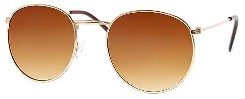 Cheapass Occhiali da Sole Rotondi d'Oro Marroni Specchiati Rosati-Ori UV-400 Retro Metallo Donne Uomini