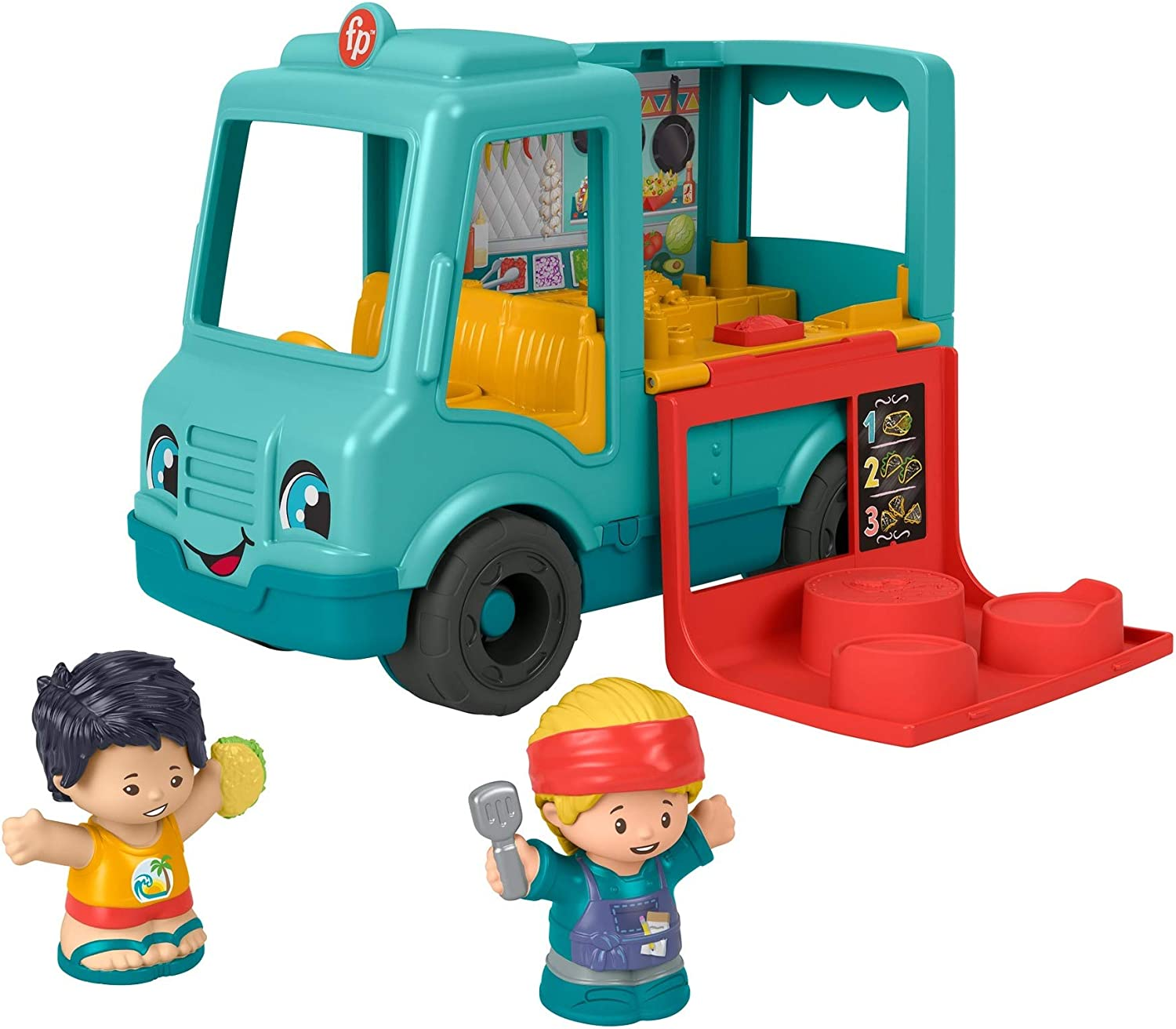 Fisher-Price Little People Serve It Up Food Truck, Push-Along Musical Toy Vehicle with Figures for Toddlers and Preschool Kids Ages 1-5 Years