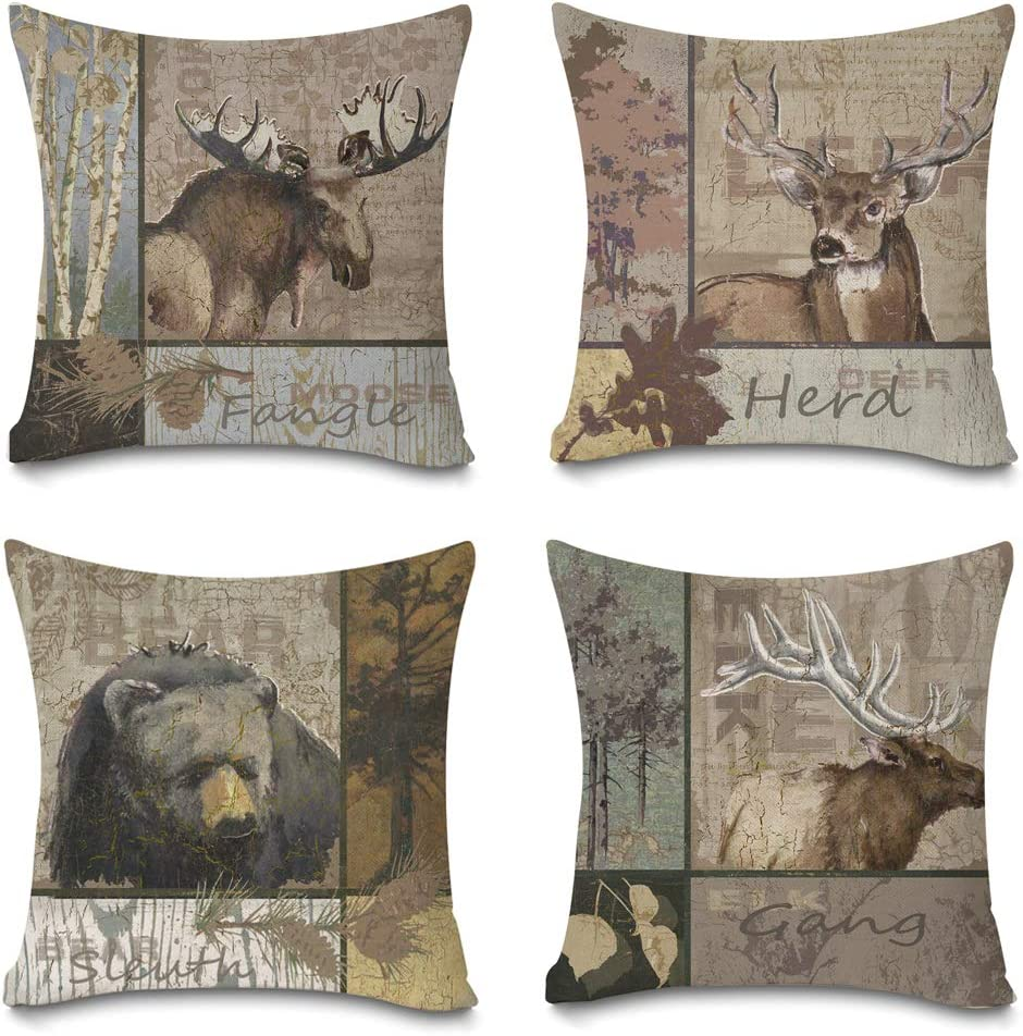 Faromily Vintage Farmhouse Pillow Covers Rustic Bear Elk Moose Deer Cushion Covers Home Decorative Throw Pillow Case Cotton Linen 18 x 18 inch Set of 4