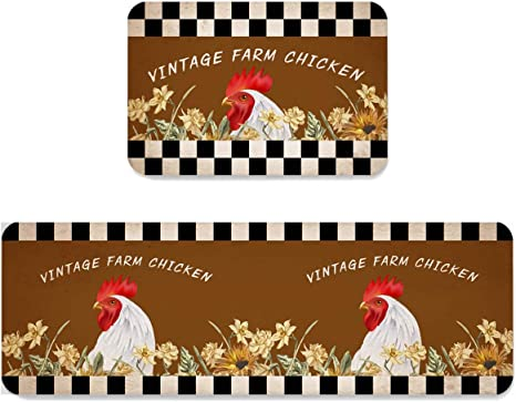 Amazon Com Farm Rooster And Sunflowers Kitchen Anti Fatigue Rug Set 2 Pieces Cushioned Floor Mats Comfort Soft Standing Doormat Non Slip Rugs Runner Retro Black White Checker Home