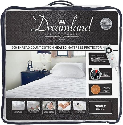 Dreamland - Protector de colchón térmico acolchado de algodón para ...