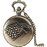 24x7 eMall Antique Metal House Stark Game of Thrones Pendant/Pocket Watch for Boys (4.5 cm Diameter)