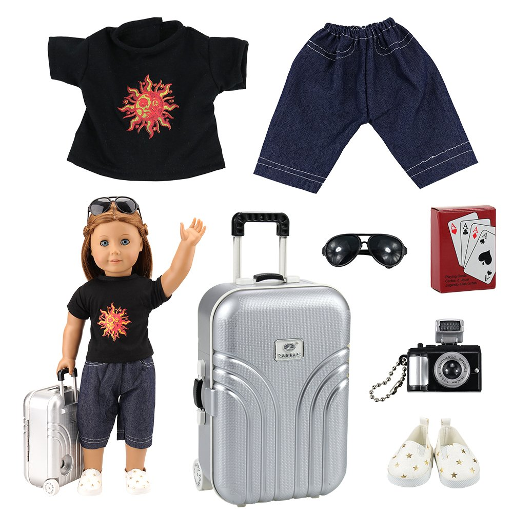 Miunana 7 PCS Accessories For Holiday For 16 - 18 Inch American Girl & Boy Dolls - Luggage + Playing Cards + Camera + Sunglasses + Top + Shorts