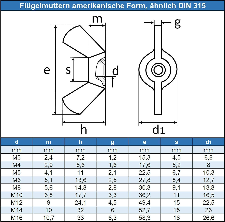10 St/ück FASTON Fl/ügelmutter M8 amerikanische Form Edelstahl A2 V2A DIN 315 kantige Fl/ügel Fl/ügelmuttern /ähnl