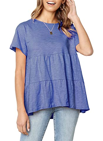 SEHOO Women's Casual Loose Short Sleeve T Shirts Ruffle Hem Peplum Shirt Babydoll Top