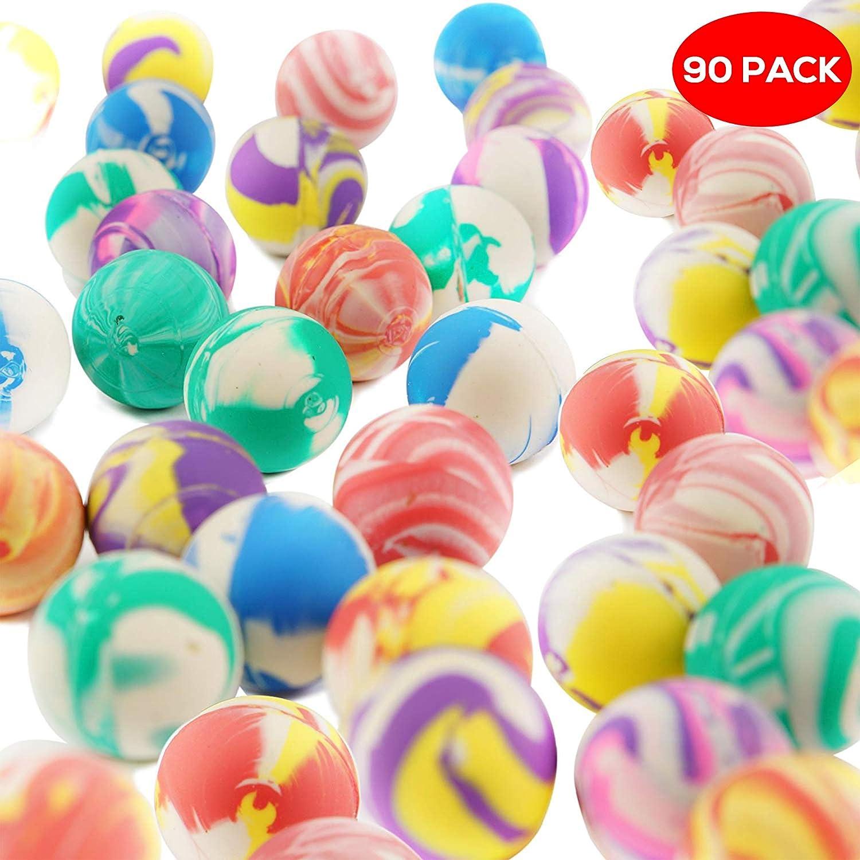 THE TWIDDLERS Lot DE 90 balles trés rebondissantes en Caoutchouc - Une variété des Couleurs et de Designs - pour des Lots Cadeaux de fête