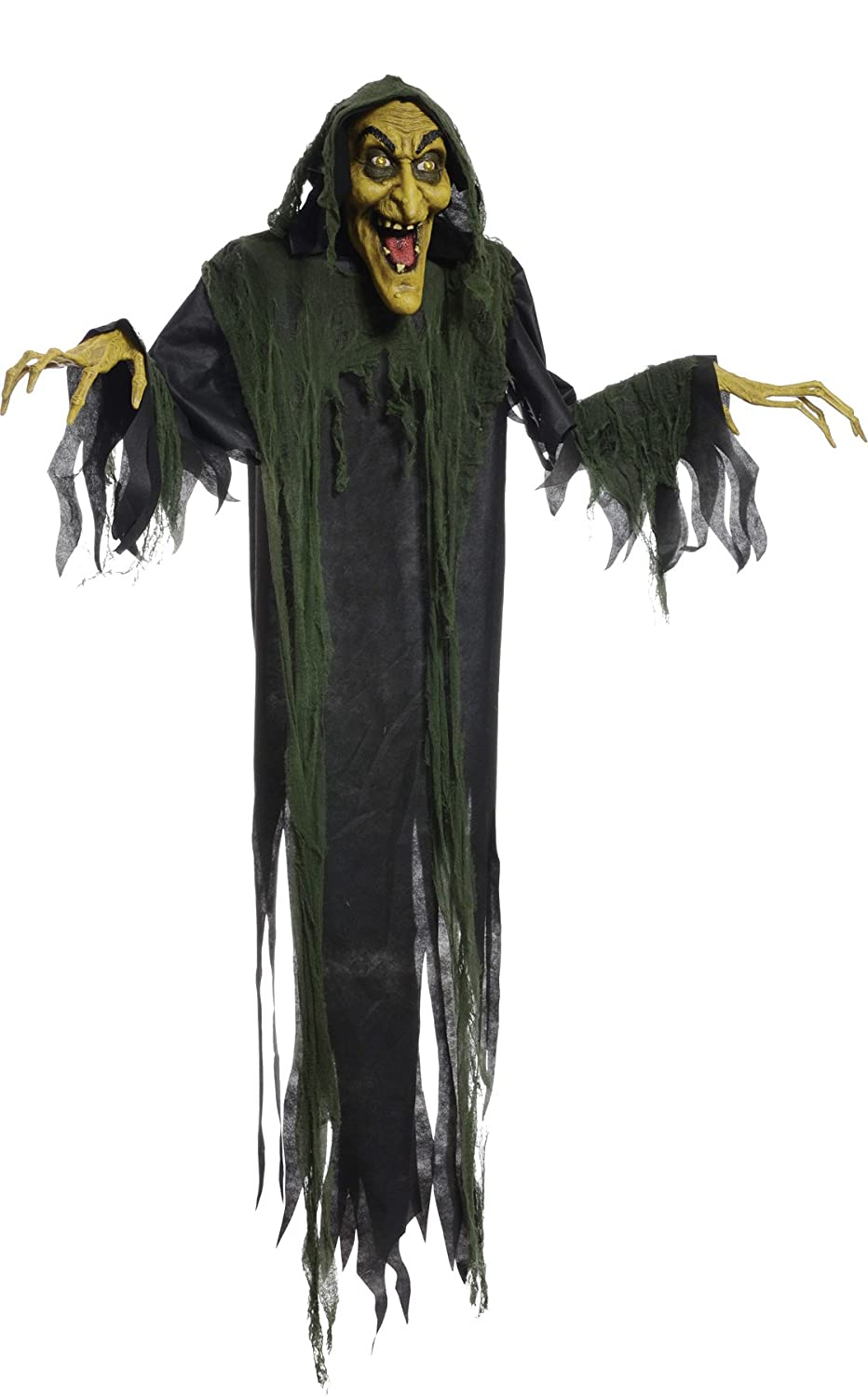 amazoncom hanging witch 72 inches animated halloween prop haunted house yard scary decor by mario chiodo toys games - Halloween Hanging Decorations