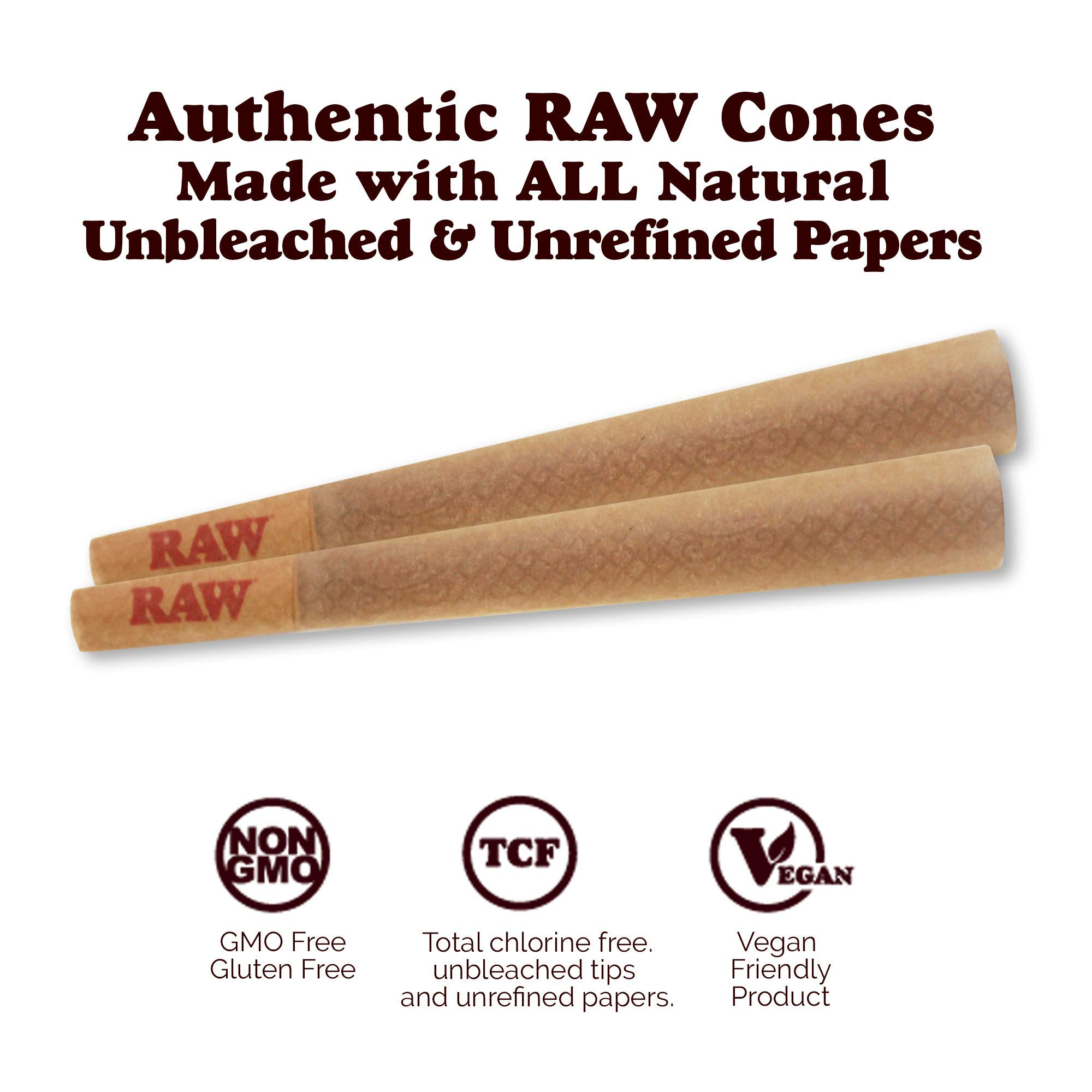RAW 1400 Pack Classic King Size Pre Rolled Cones with Tips Plus 350 Bonus Mylar Foil Bags | Rolling Papers Made with All Natural Fibers by Raw, W Gallery (Image #2)