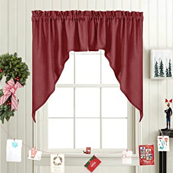 Elegant Swags Café Curtains For Kitchen, Home Decor Solid Color Casual  Weave Small Window Swags