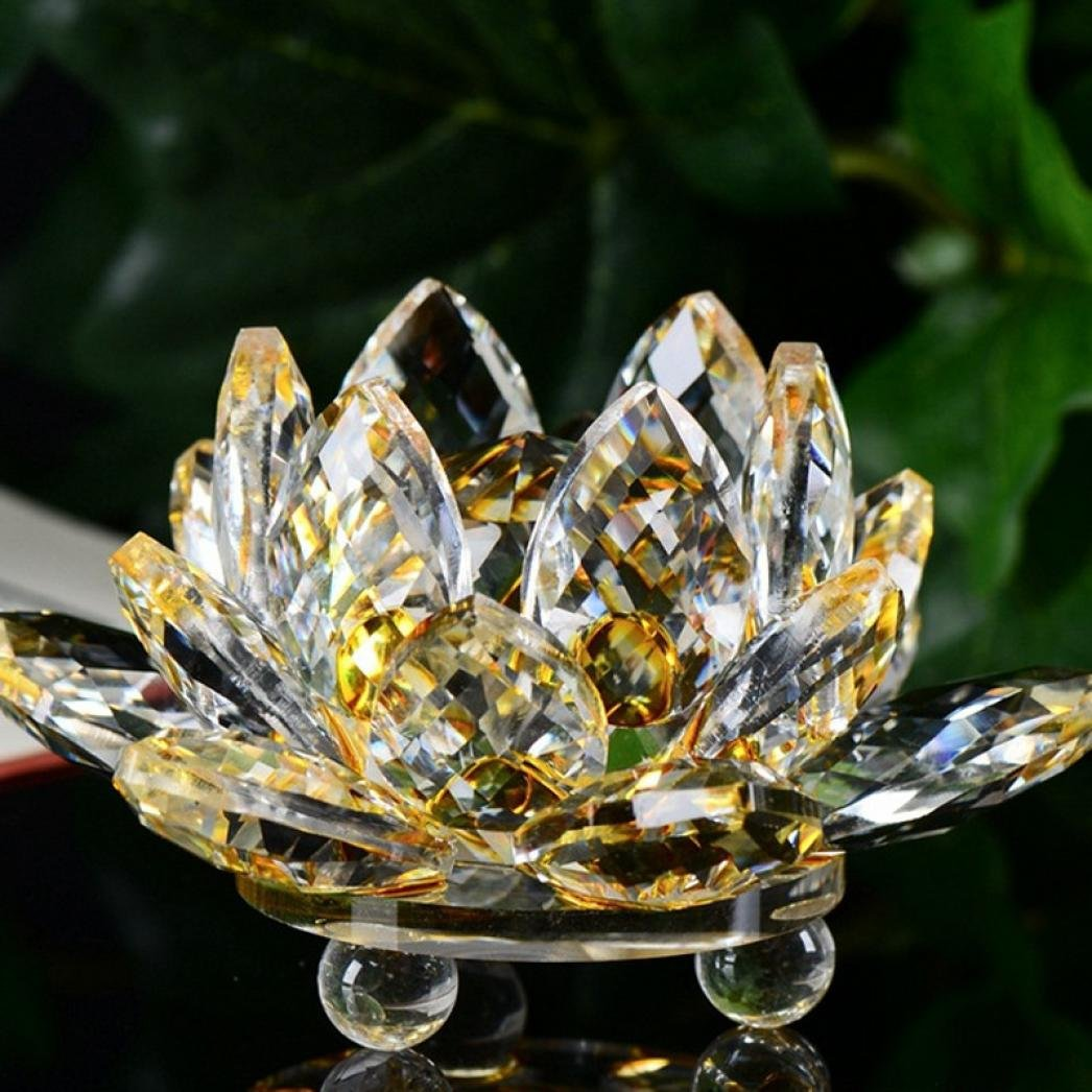 Igemy Lotus Crystal Glass Figure Paperweight Ornament Crystal Lotus