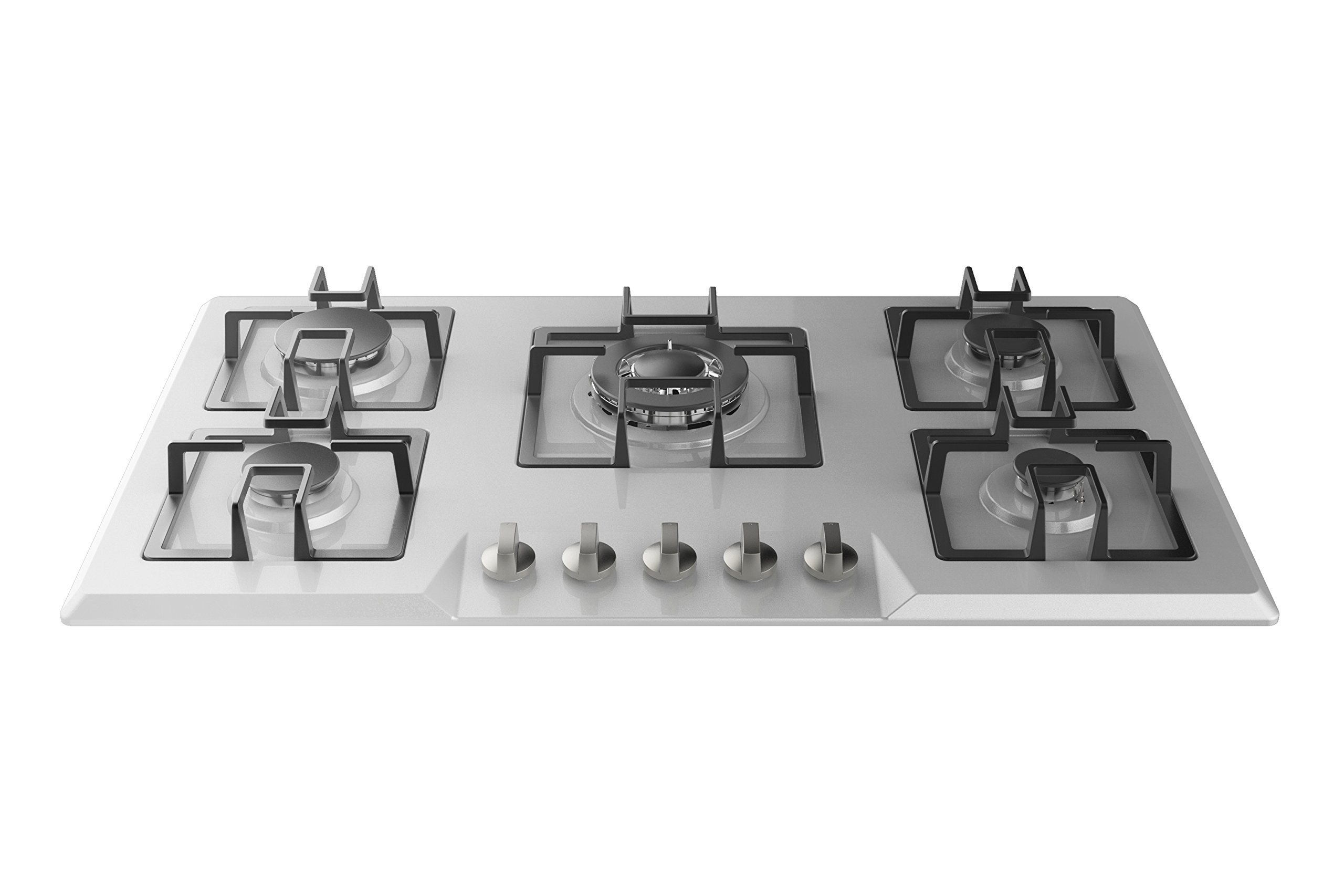 Empava 34'' Stainless Steel Built-in 5 Italy Sabaf Burners Stove Top Gas Cooktop EMPV-34GC5B90A by Empava