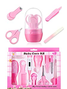 Zhehao Baby Grooming Kit and Baby Nail Kit, 10 Pieces Newborn Nursery Health Care Set and 4 Pieces Newborn Infant Manicure Grooming Set Baby Nail Clipper Set for Kids Toddlers Baby Boys Girls Newborn