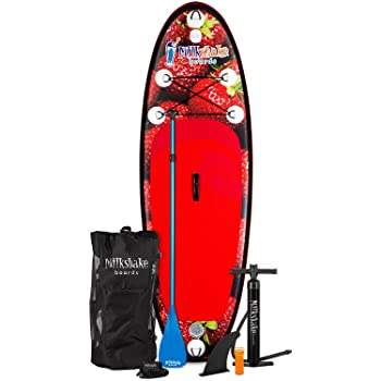 XTERRA Boards Milkshake Inflatable 8' Kids Stand Up Paddle Board and Complete SUP Bundle