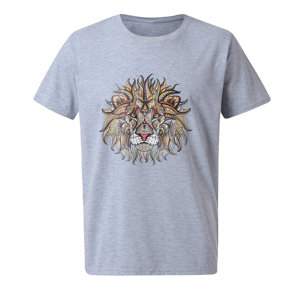 Tiitstoy Summer Mens Fashion Casual T-Shirt Lion Head Print Cotton Tee Blouse Round Neck Shirts Short Sleeve Tops