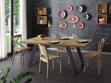 TAVOLO Rettangolare cucina soggiorno legno massello Ontano cerato ...