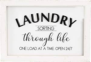 Creative Co-op Laundry Sorting Through Life One Load at a Time Wood & Glass Decor Wall Sign, White