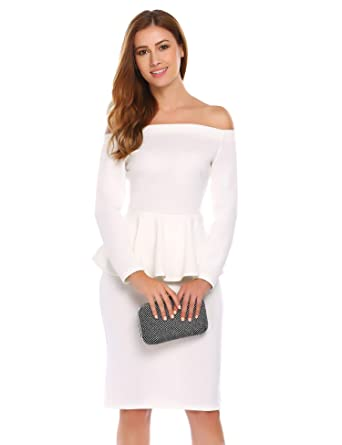 0a49791340c ANGVNS Women's Sexy Long Sleeve Solid Off Shoulder Ruffles Bodycon Pencil  Dress White S