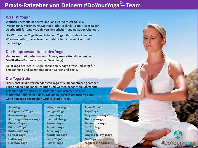 Id/éal pour Yoga Pilates et la Gymnastique//Convient aux d/ébutants et Professionnels//Dimensions #DoYourYoga /® Tapis de Yoga /»Yoganidra/« 183 x 61 x 0,4 cm//Plusieurs Couleurs et Motifs Disponibles
