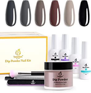 Beetles Dipping Powder Starter Kits 6 Colors Dip Nails Gray Dark Dip Powder Nail Dip Set Dipping System for French,No LED Nail Lamp Needed Manicure Nail Art DIY Home Gift Box, 0.53 fl.Oz/Each