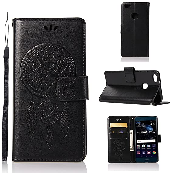 new products 65a2e f54a4 Amazon.com: IVY Wallet Case P10Lite Flip Cover with Owl Imprint ...