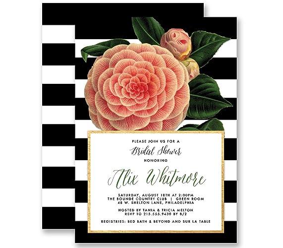 Amazon camellia bridal shower invitations modern black white camellia bridal shower invitations modern black white stripe vintage botanical personalized boutique invites with envelopes filmwisefo