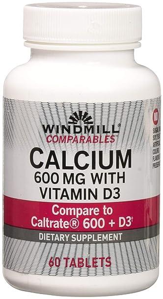 Amazon.com: Carbonato de calcio 600 mg PLUS D, pestañas 60 ...