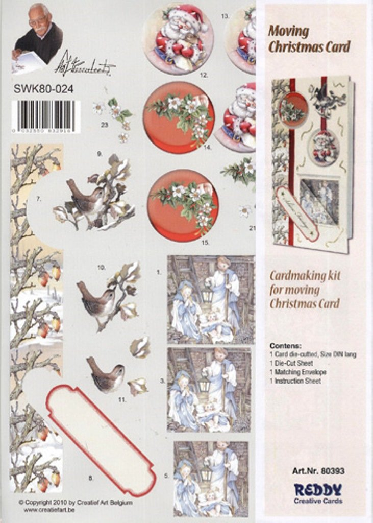 Amazon.com: 3-D Precut Moving Christmas Card - Birds, Floral/Manger ...