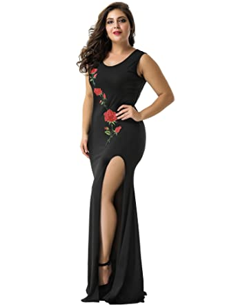 ohyeahlady Women Retro Floral Evening Dress Side Split Formal Prom Gown Maxi Dresses