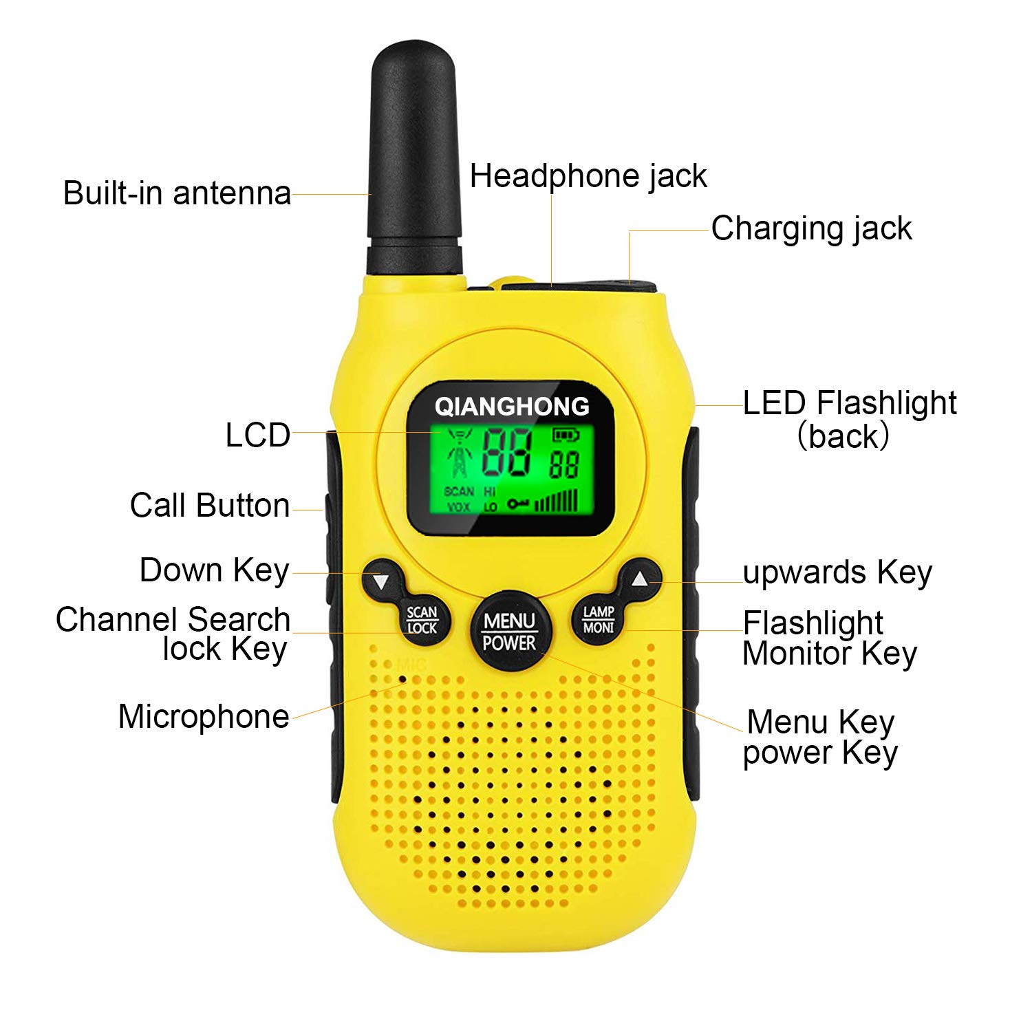 Qianghong Rechargeable Walkie Talkies for Kids Included Li-ion Battery and Charger (Red&Yellow&Blue) by Qianghong (Image #4)