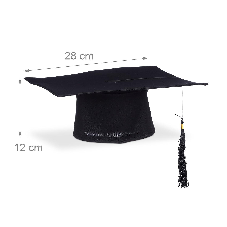 Relaxdays 10020592  Toque /étudiant universit/é dipl/ôme chapeau remise de diplomes fin /étude noir