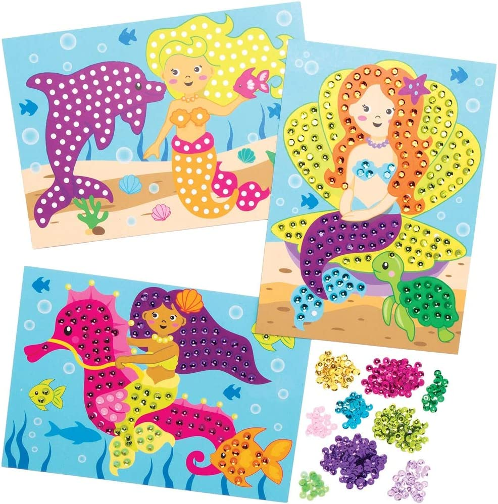 for Kids Arts and Crafts Projects Pack of 4 Baker Ross AT732 Mermaid Sequin Picture Kits Assorted