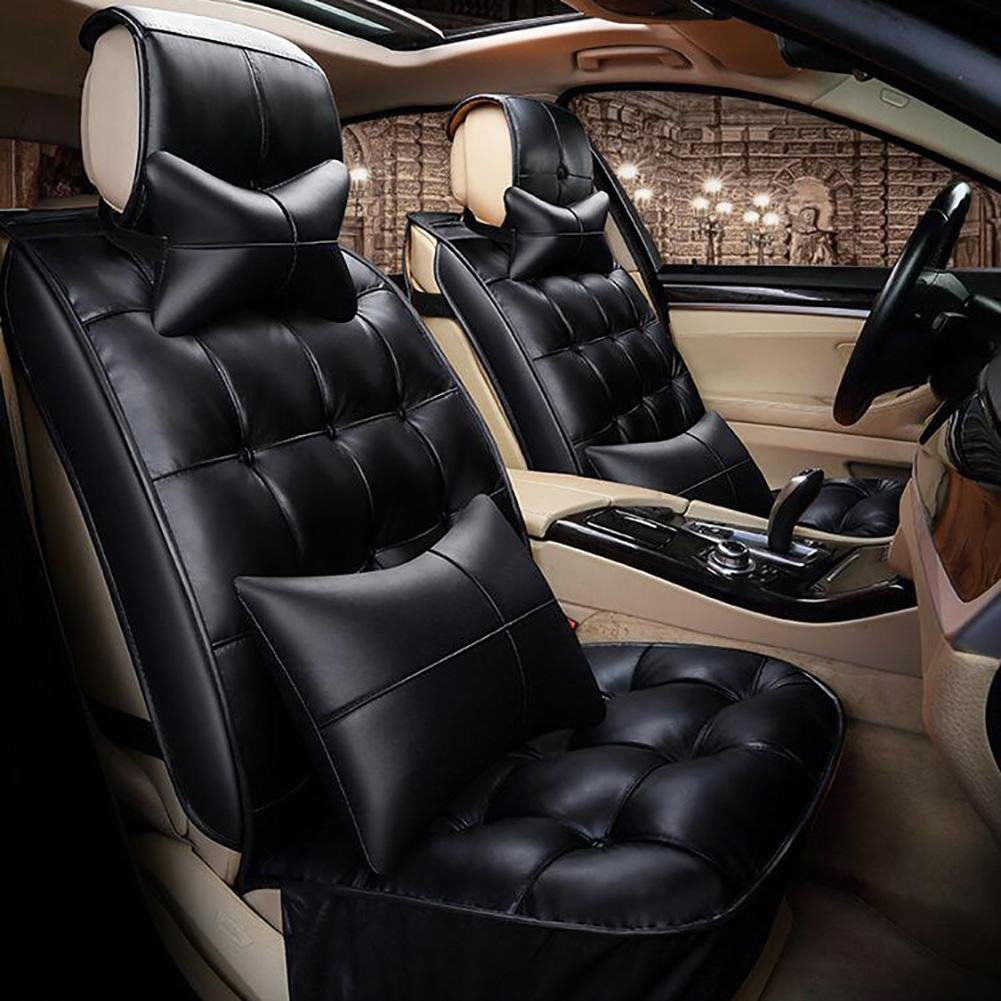 QLL O New 3D Full Of Winter Leather Car Cushion Winter Warm Feathers Cushion, Black, B
