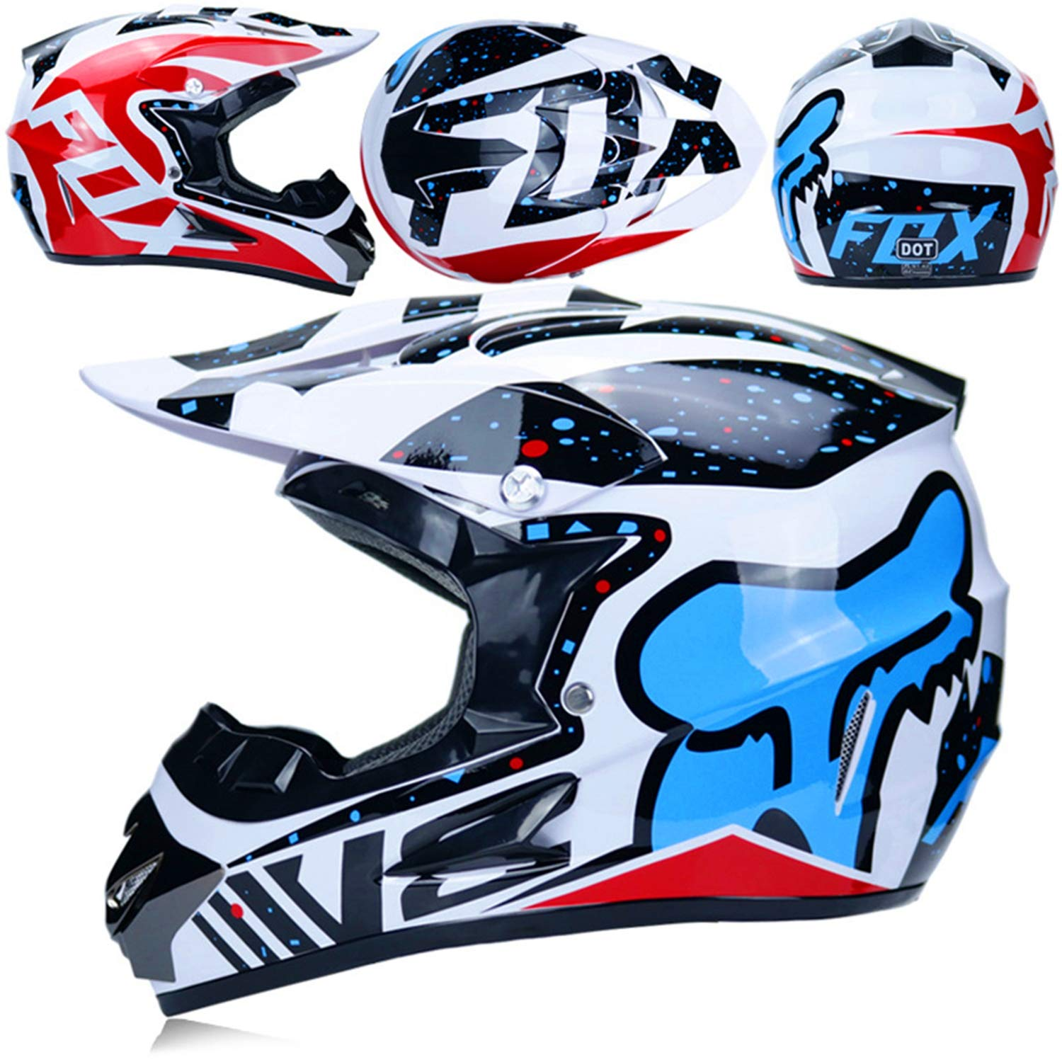 Multicolor with Goggles Gloves Mask MX Motorcycle Helmet//Motorcycle DH Off-Road Enduro ATV BMX MTB Downhill Dirt Bikes Quad Motorbike Cross Country