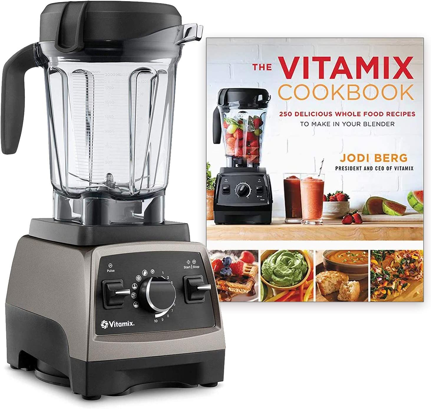 Vitamix Pro 750 Heritage Series, Professional-Grade, 64 oz. Low-Profile Container Bundle with The Vitamix Cookbook - 250 Delicious Whole Food Recipes (Pearl Gray)