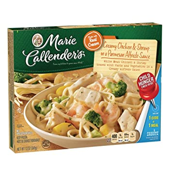 Marie Callenders Frozen Dinner, Creamy Chicken & Shrimp in a Parmesan Alfredo Sauce, ...