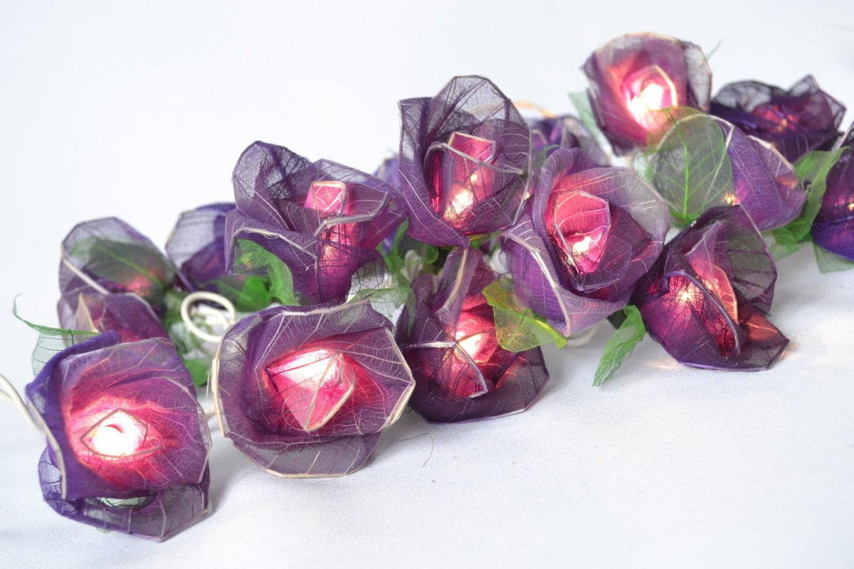 Amazon.com: Purple Rose Flower Lights For Bedroom And Wedding String Lights  Flower Lights Indoor Patio (20 Lights/set): Home Improvement