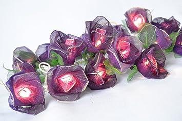 Amazoncom Purple Rose Flower Lights For Bedroom And Wedding - Flower string lights for bedroom