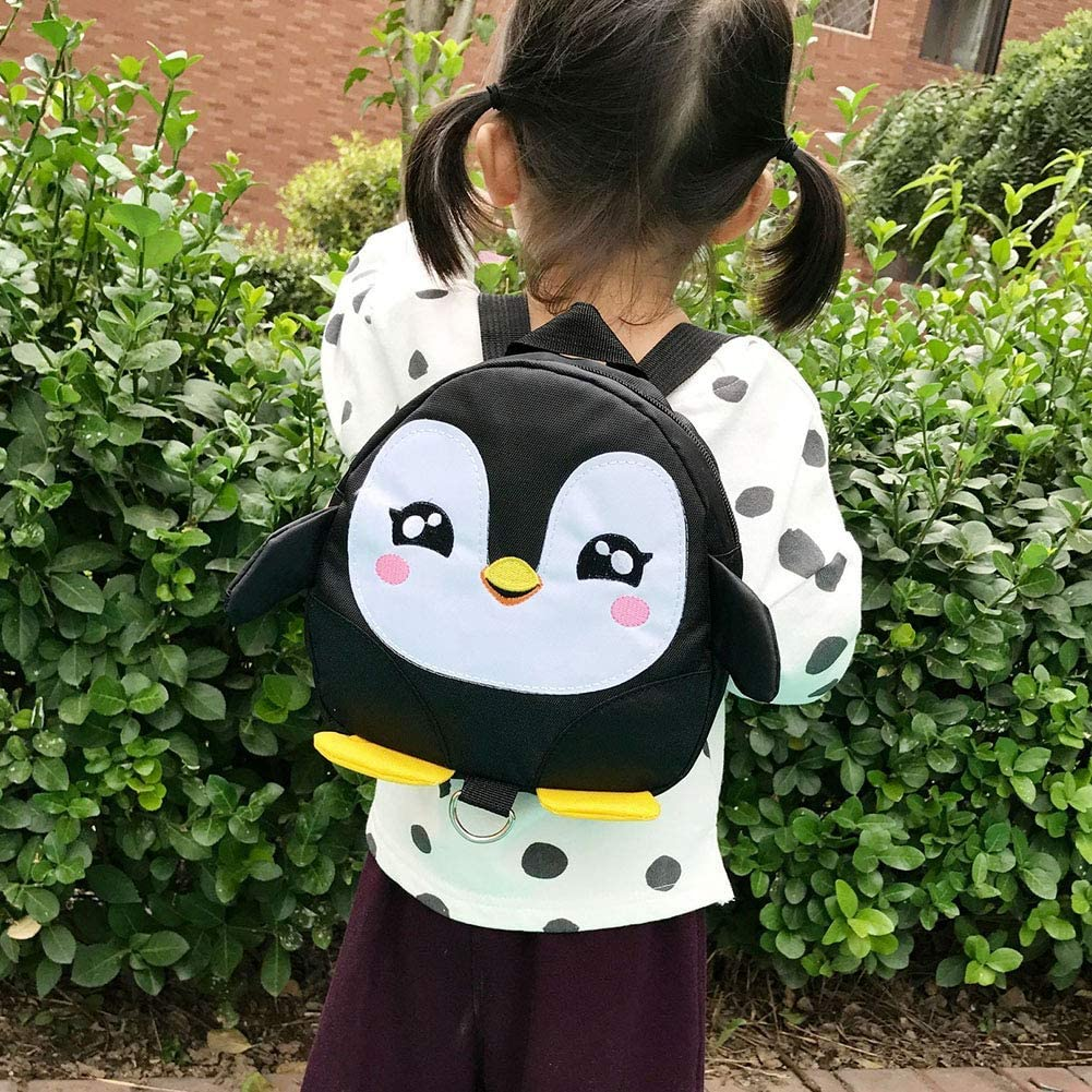 Black A-KEY Kids Penguin Backpack Cartoon Baby Toddler Kindergarten Backpack Rucksack with Anti Lost Leash Suckpack