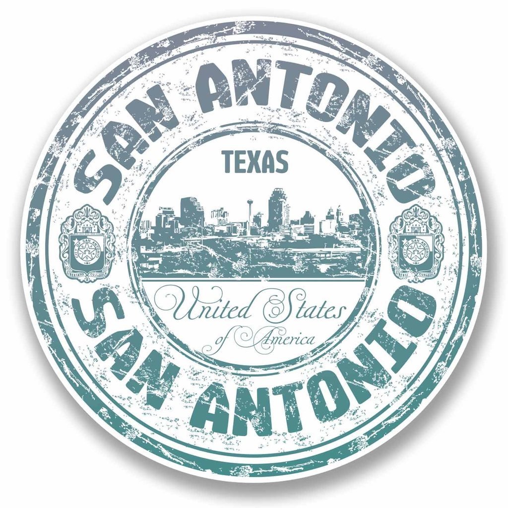 2 x 10cm San Antonio Texas USA Vinyl Sticker Decal Laptop Luggage Travel #9707