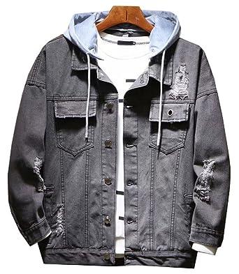 Lifehe Distressed Dipped Mens Denim Jacket With Hoodie Black