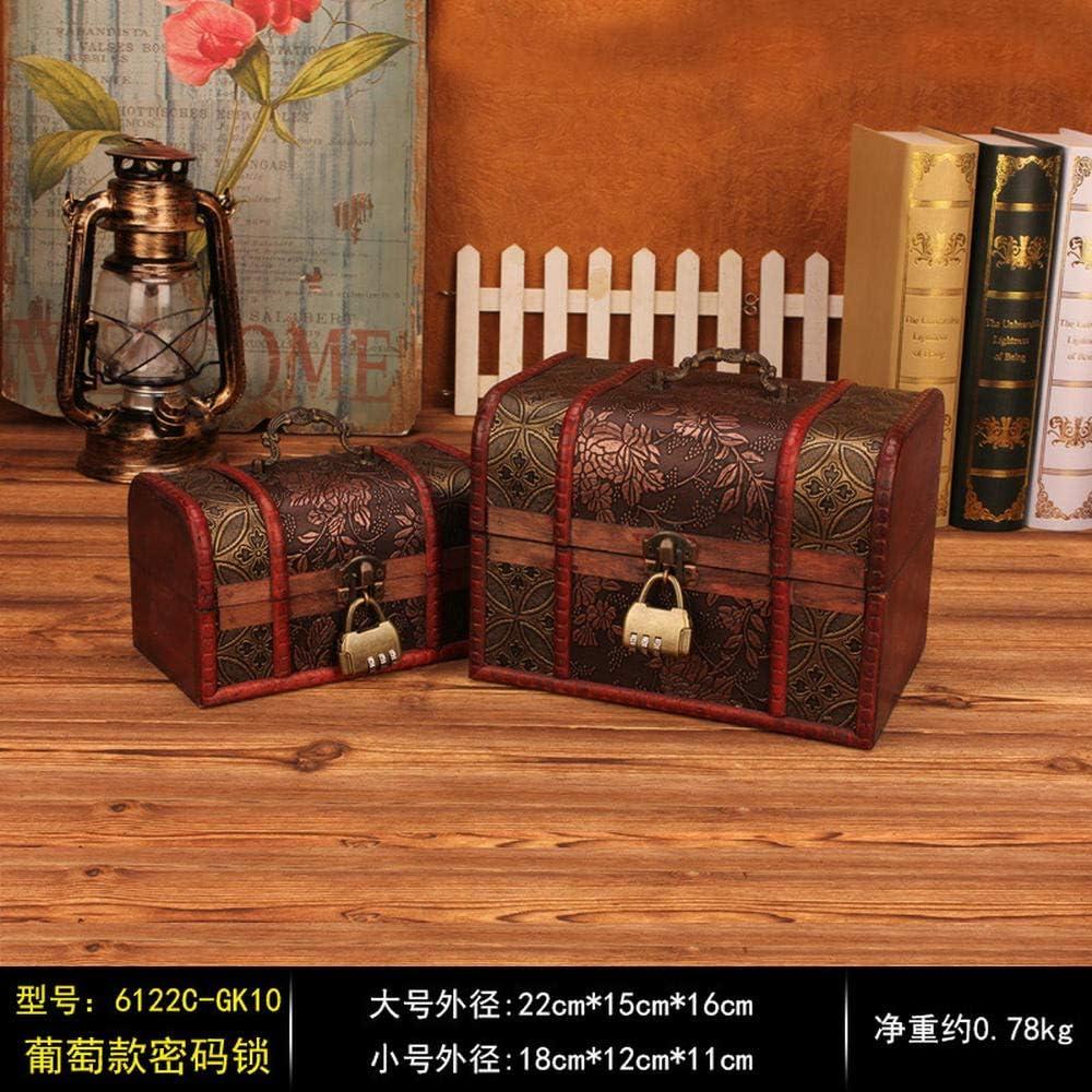 PTSHOP 2 Unids Antiguo Cofre del Tesoro de Madera Caja de almacenaje de la joyería de la Vendimia Organizador del Tesoro Caja de Regalo de la Caja del Cofre con Metal Vintage